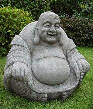 Gartenfigur dicker, lachender Buddha, Stein