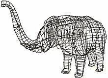 Gartenfigur Elefant Gartendeko Drahtgestell ca. 80 cm hoch schwarz