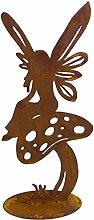 Gartenfigur Elfe auf Fliegenpilz Metall Rost 40cm