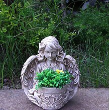 Gartenfigur Engel NF15150 Gartendeko Pflanztopf 33 cm Hoch Blumentopf Blumenschale