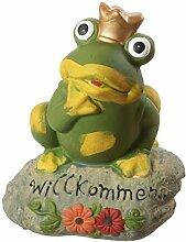 Gartenfigur Frosch Willkommen Stein Krone Froschkönig Gartendeko Figur Teich