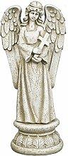 Gartenfigur Gartendeko Grabschmuck Engel mit Kreuz