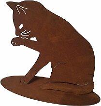 Gartenfigur Gartendekoration Metall Rost Katze 28 cm hoch 34 cm breit • Geschenkidee · Dekoration für Garten, Balkon oder Terasse