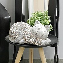 Gartenfigur Gartenskulptur Katze liegend H18xB17xL32cm aus Magnesia Dekofigur Gartendeko