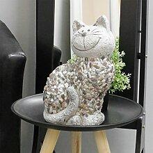 Gartenfigur Gartenskulptur Katze stehend H32xB16xL21cm aus Magnesia Dekofigur Gartendeko