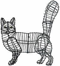 Gartenfigur gehende Katze Draht-Figur für Moos