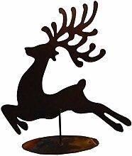 Gartenfigur Hirsch aus Metall Rost 40cm