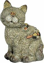 Gartenfigur Katze mit toller Steinoptik