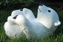Gartenfigur kleiner Eisbär Dekofigur aus Beton