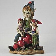 Gartenfigur Koboldfamilie Happy Larry