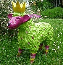 Gartenfigur lustiges buntes Schaf mit Krone Garten