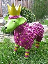 Gartenfigur lustiges buntes Schaf mit Krone Garten Deko Tier Lamm Königsschaf in Brombeer