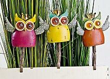 Gartenfigur Metall Eulen bunt 3 Farbvarianten mit Clip Gartenfiguren Gartendeko Gartendekoration (Orange)