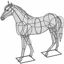 Gartenfigur Pferd Drahtfigur schwarz 97cm hoch
