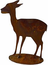 Gartenfigur Reh aus Metall Rost 30cm