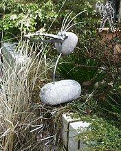 Gartenfigur und Gartendeko als Steinvogel aus Edelstahl und Schorsch sitzend der Ehrenhafte Größe M ca 40 cm höhe