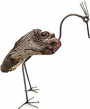 Gartenfigur Vogel Holz Gartendeko (S)