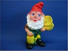Gartenfigur Zwerg mit Blume H 20 cm