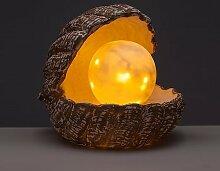 Gartenfiguren - Leuchtkugel mit LED Lichterkette und Timer - Froschkönig oder Muschel als Gartendeko (Leuchtkugel in Muschel)