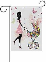 Gartenflagge für Mädchen, Blumen, Schmetterling,