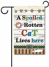 Gartenflaggen,Eine Verdorbene Faule Katze Lebt