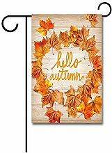 Gartenflaggen,Garten Flagge Hallo Herbstlaub Holz