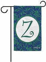 Gartenflaggen,Hallo Frühling Blumen Monogramm Z