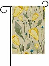 Gartenflaggen mit gelben Tulpen - festliches