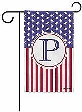 Gartenflaggen,Us Flag Dekorative Monogramm P