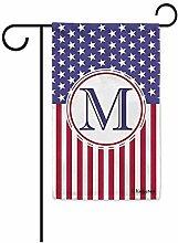 Gartenflaggen,Us Flagge Dekorative Monogramm M