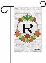 Gartenflaggen,Willkommen Herbst Kranz Monogramm R