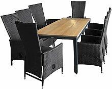 Gartengarnitur Gartentisch, Polywoodtischplatte teakfarben, Aluminiumgestell Schwarz, 205x90cm + 8x Rattansessel, Polyrattan Schwarz - Gartensessel Terrassenmöbel