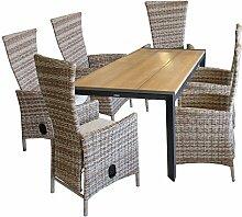 Gartengarnitur Gartentisch, Polywoodtischplatte teakfarben, Aluminiumgestell Schwarz, 205x90cm + 6x Rattansessel, Polyrattan Nature - Gartensessel Terrassenmöbel
