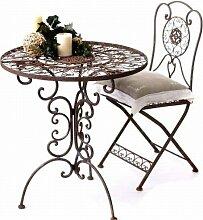 Gartengarnitur Tisch rund mit 2 Stühlen aus Metall Tecla Sitzgruppe