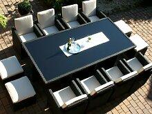 Gartengarnitur Toscana XXL schwarz (großer Tisch mit 8 Sessel, 4 Hocker) incl. aller Polster und Plane