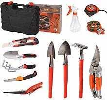 Gartengeräte 12 Stücke Werkzeug Set Pflanzenpflege Werkzeug Gartenwerkzeuge Kombi Set für Gartenarbeit und Balkonpflanzen, Hobbygärtner und Profigärtner