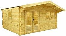 Gartenhaus / Blockhütte Fonteyn Silvia Satteldach 505 x 415 cm + 90 Vordach Hochdruck imprägnier