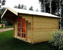 Gartenhaus BREMEN Blockhaus 300x300cm+90cm Vordach 28mm Gartenlaube Holzhaus Holzlaube