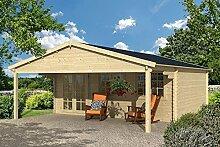 Gartenhaus DRESDEN Blockhaus 600x500cm + 250cm Vordach Gartenlaube Holzhaus Holzlaube