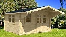 Gartenhaus ENZO - C/1 Blockhaus 400x500cm - 40mm - Inkl. Fußboden+Verglasung Gartenlaube Holzhaus Holzlaube