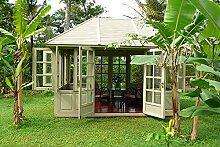 Gartenhaus Fiete House Gazebo Mahagoni Holzhaus Geräteschuppen Blockhaus min