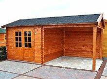 Gartenhaus FRANKFURT Blockhaus 600x300cm 300cm Überdachung 28mm Gartenlaube Holzhaus Holzlaube