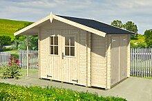 Gartenhaus G104 mit Anbauschrank und Seitendach inkl. Fußboden - 18 mm Blockbohlenhaus, Grundfläche: 6,60 m², Satteldach