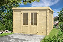 Gartenhaus G132 - 28 mm Blockbohlenhaus, Grundfläche: 6,70 m², Pultdach