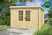Gartenhaus G133 - 28 mm Blockbohlenhaus, Grundfläche: 8,50 m², Pultdach