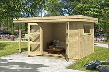 Gartenhaus G144 inkl. Fußboden und Schleppdach - 28 mm Blockbohlenhaus, Grundfläche: 10 m², Flachdach