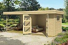 Gartenhaus G145 inkl. Fußboden, Terrasse und Schleppdach - 28 mm Blockbohlenhaus, Grundfläche: 13,90 m², Flachdach
