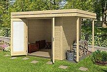 Gartenhaus G150 inkl. Fußboden und Schleppdach - 28 mm Blockbohlenhaus, Grundfläche: 14,50 m², Flachdach