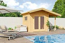 Gartenhaus G151 inkl. Fußboden und Schleppdach - 28 mm Blockbohlenhaus, Grundfläche: 8,84 m², Satteldach