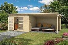 Gartenhaus G177 inkl. Schleppdach - 28 mm Blockbohlenhaus, Grundfläche: 16,50 m², Pultdach